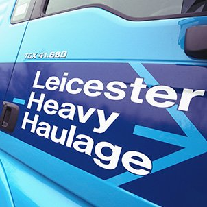 Close-up of a Leicester Heavy Haulage truck